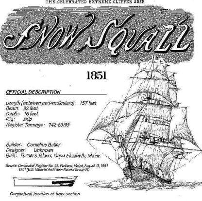 Clipper-Schooner Ship Snow Squall - Baltimore ship model plans