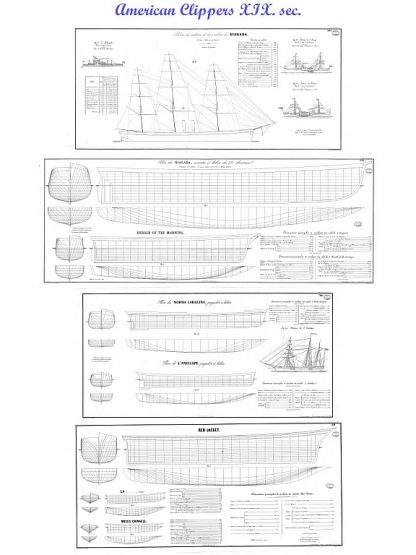 Clipper USA collection XIXc ship model plans