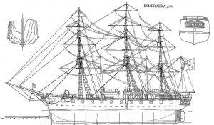 Corvette Esmeralda 1854 ship model plans