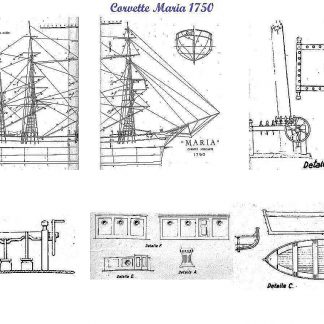 Corvette Merchant Maria 1750 ship model plans