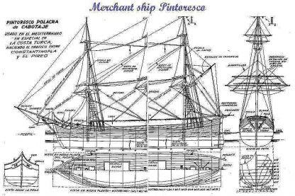 Corvette Merchant Pintoresco ship model plans