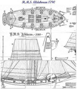 Cutter HMS Aldebaran 1790 ship model plans