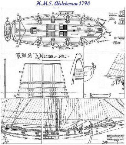 Cutter HMS Aldebaran 1790 ship model plans