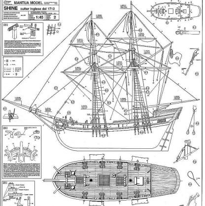 Cutter HMS Shine 1712 ship model plans