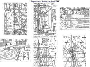 Frigate Bon Homme Richard 1779 ship model plans