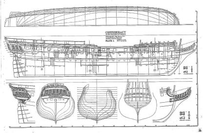 Frigate Confederacy 1778 ship model plans
