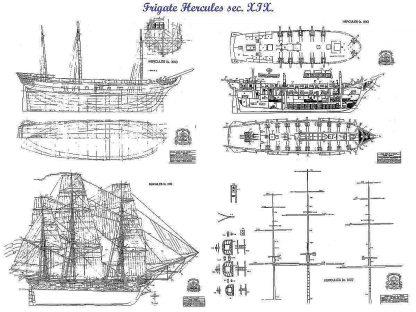 Frigate Hercules 1798 ship model plans