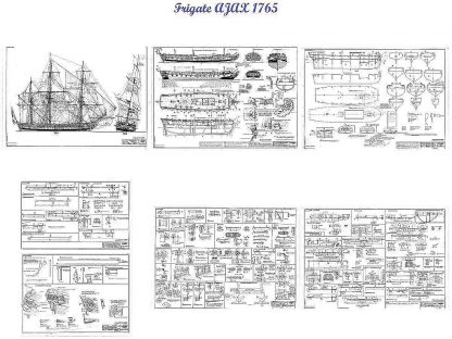 Frigate HMS Ajax 1765 ship model plans