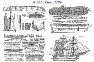 Frigate HMS Diana 1853 ship model plans