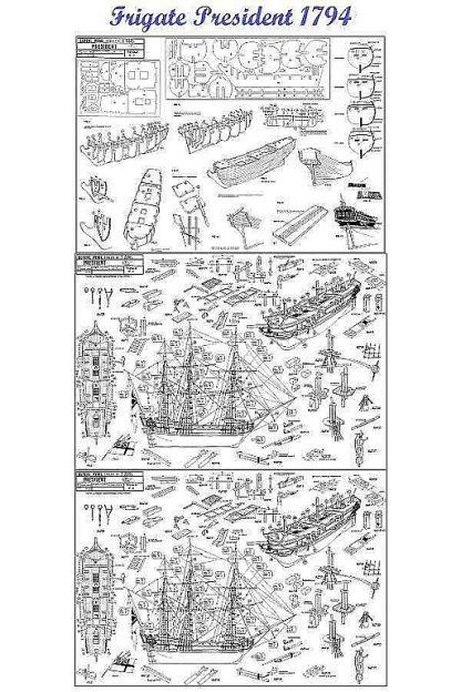 Frigate HMS President 1730 ship model plans
