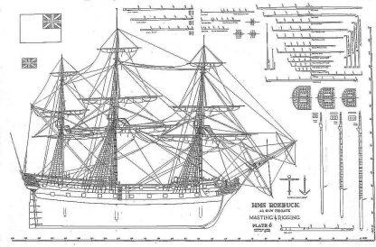 Frigate HMS Roebuck 1774 ship model plans