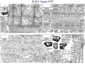 Frigate HMS Serapis 1779 ship model plans