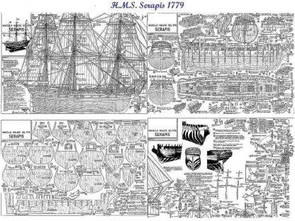 Frigate HMS Serapis 1779 ship model plans