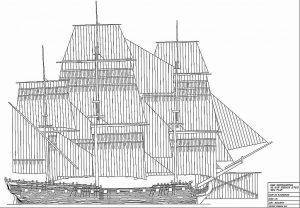 Frigate HMS Southampton 1757 ship model plans