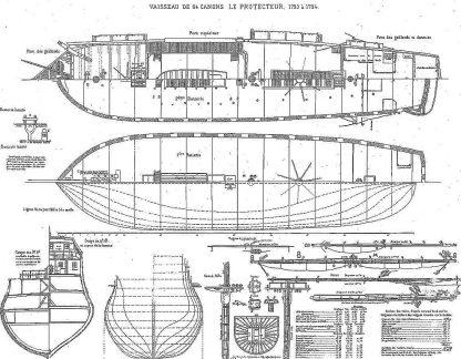 Frigate Le Protecteur (1793) ship model plans