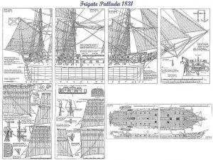 Frigate Pallada 1832 ship model plans