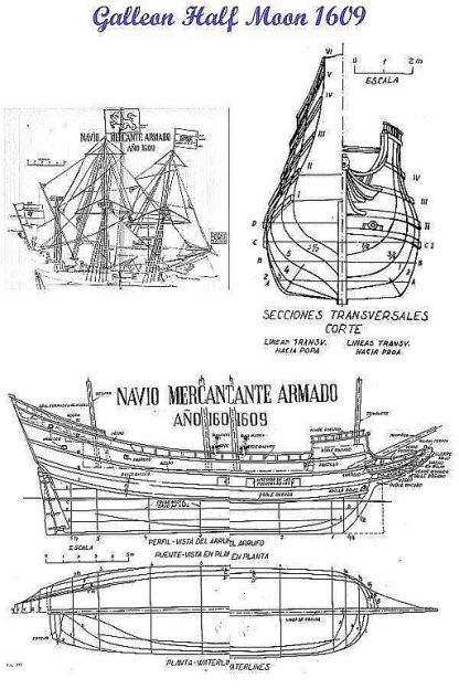 Galleon Half Moon 1609 ship model plans