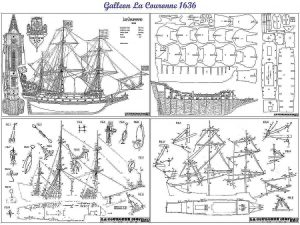 Galleon La Couronne 1636 ship model plans