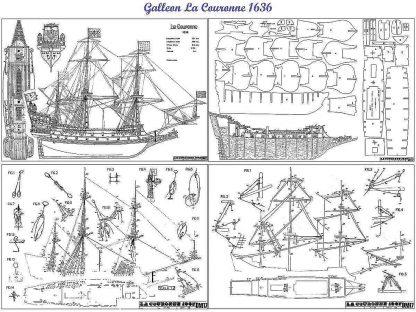 Galleon La Couronne 1636 ship model plans