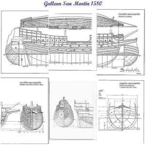 Galleon San Martin 1580 ship model plans