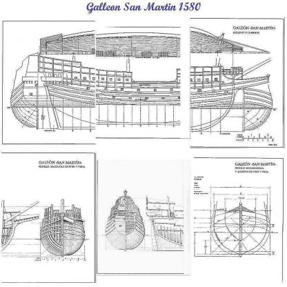 Galleon San Martin 1580 ship model plans
