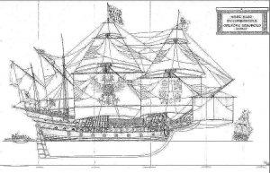 Galleon Santiago De Compostela 1540 ship model plans