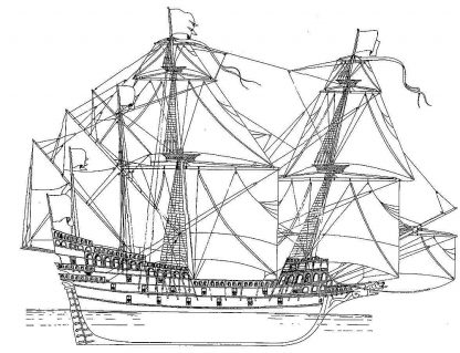 Galleon Smok 1570 ship model plans