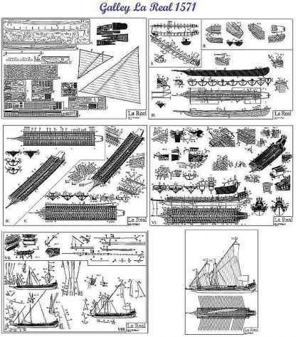 Galley La Real 1571 ship model plans