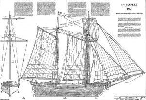 Goelette Marseille 1764 ship model plans
