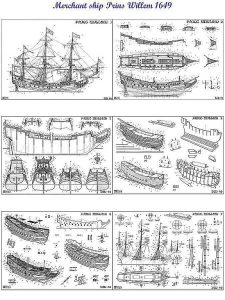 Indiaman East Prins Willem 1651 ship model plans