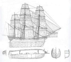 Indiaman West Tree Sisters 1788 ship model plans