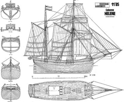 Ketch Helene 1828 ship model plans