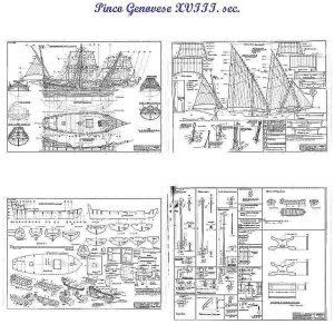 Pinco Genovese XVIIIc ship model plans