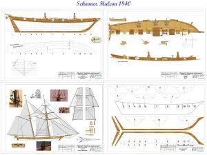 Schooner Halcon 1840 ship model plans