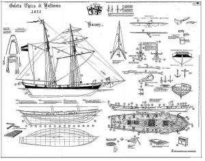 Schooner Harvey 1848 - Baltimore ship model plans