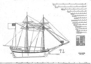 Schooner HMS Chaleur 1764 ship model plans