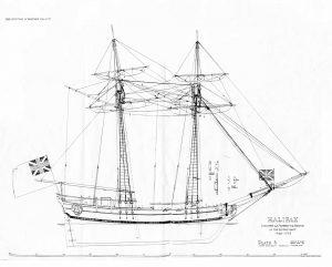 Schooner HMS Halifax 1768 ship model plans