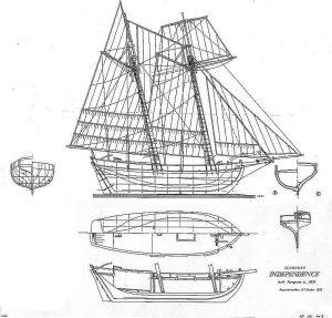 Schooner Independence 1803 ship model plans