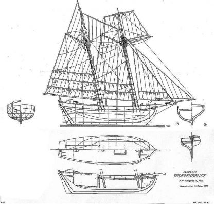 Schooner Independence 1803 ship model plans