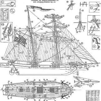 Schooner Newport 1886 - Baltimore ship model plans