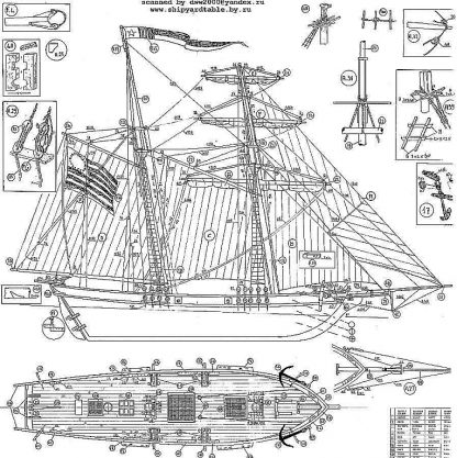 Schooner Newport 1886 - Baltimore ship model plans