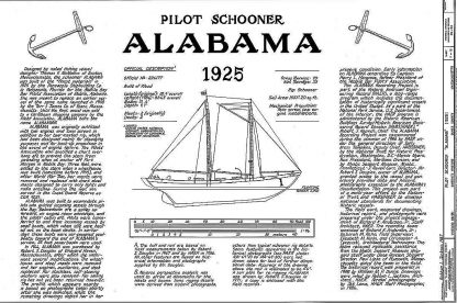 Schooner Pilot Alabama 1925 - Baltimore ship model plans