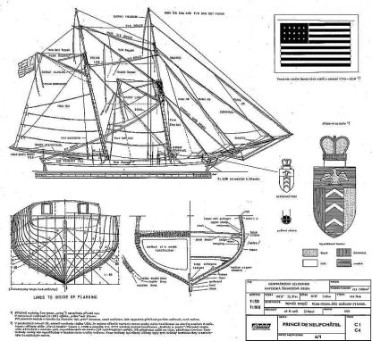 Schooner Prince De Neufchatel 1812 ship model plans