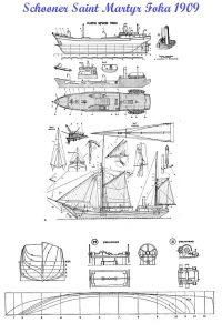 Schooner Saint Martyr Foka 1909 ship model plans