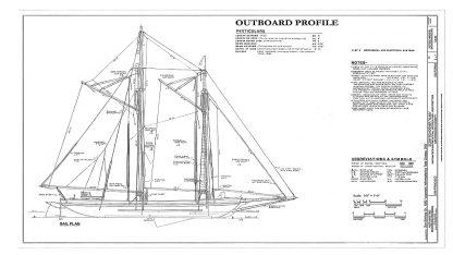 Schooner Scow Alma 1891 ship model plans