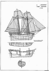 Schooner Sultana 1768 ship model plans