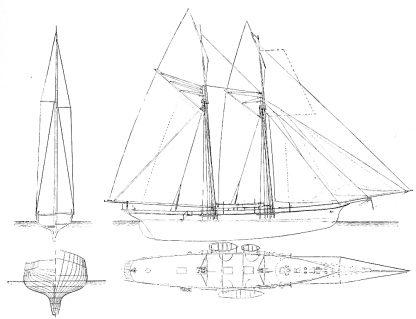 Schooner Yacht Velox 1875 ship model plans