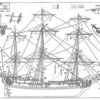 Sloop Peregrine Galley 1700 ship model plans