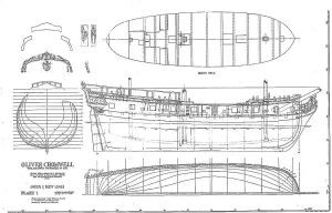 Sloop Privateer Oliver Cromwell 1777 ship model plans
