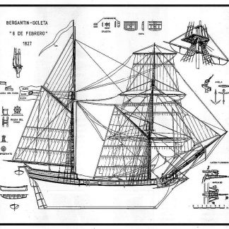 Topsail Schooner 8 De Febrero 1827 ship model plans